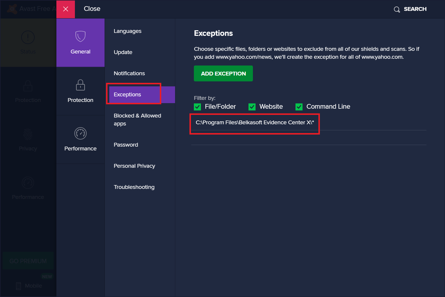 how to allow exclusions in avast